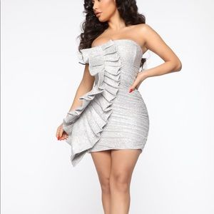 NWT Can You Not Sequin Mini Dress - Silver